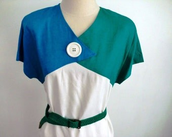 80s Abstract Button Dress