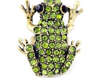 New Vintage Retro Full Green Crystal Cute FROG Ring,adjustable,K7