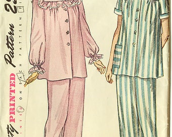 Vintage 1940s Simplicity Two-Piece Pajama Sewing Pattern Bust 34