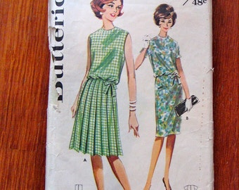 Vintage 1960s Butterick Dress Pattern Bust 36 - Partially Used