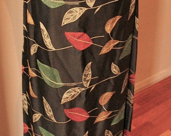 Vintage 1930s Black Satin Brocade 'Autumnal' skirt