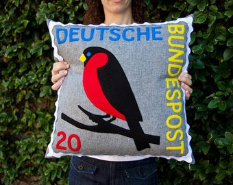 German robin stamp cushion cover