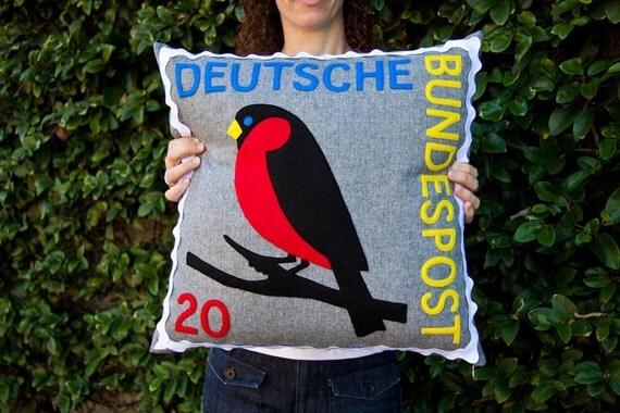 German robin stamp cushion cover