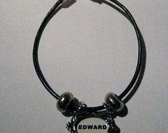 Twilight Saga Inspired Leather Bracelet with edward charm