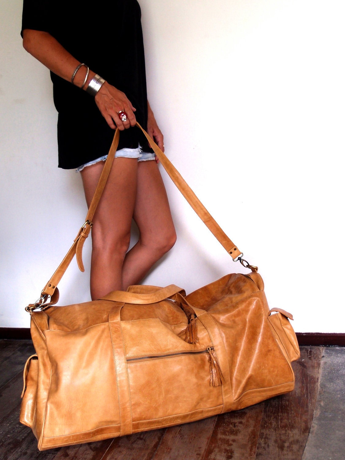 JOURNEY. Duffel bag / travel bag / leather luggage / leather