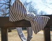 """Grey Seersucker Self Tie Adjustable Bow Tie (14.5""""-18.5"""")"""