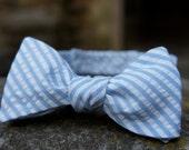 Blue Seersucker Self Tie Adjustable Bow Tie
