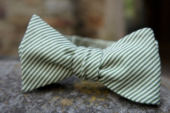 """Green and Cream Striped, Button Adjustable Bow Tie 14.5""""-17.5"""""""