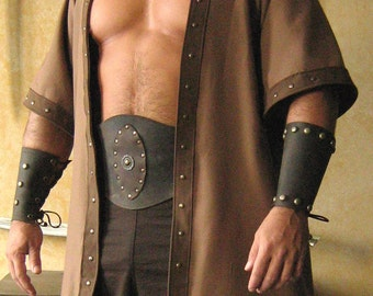 Medieval Celtic Viking Barbarian Short Sleeves Coat Jacket Vest