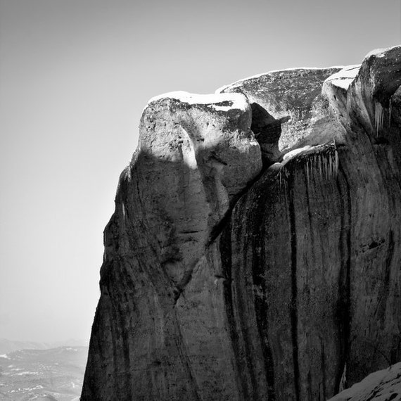 Fine Art Photography, Rocks of Meteora, Black and White Photography, Vertical Rocks Square Print 8x8, Gray