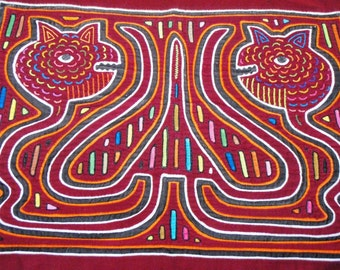 Snake Mola Panel Fabric Red hand made Genuine Kuna 1960s South American Embroidered Embroidery