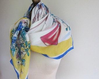 SILK scarf  80s HUNTING HORN asymmetrical print, square scarves, vintage scarf