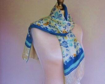 SILK scarf ,  BLUE scarf , skinny scarf, oblong silk scarf , feminine ,  floral , 1970s, blue hairwrap, long blue scarf, floral silk scarf