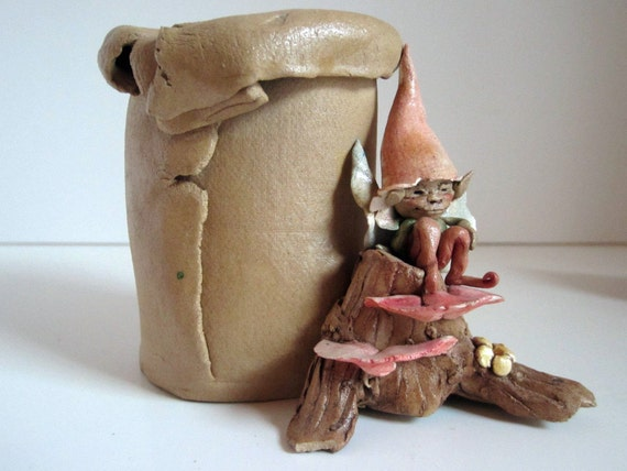 RESERVED FOR BECKI   Elf, Fairy, Sprite, or Goblin /ceramic / Stump with Mushrooms / Fantasy /Woodland / Rustic