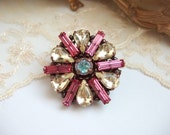 Small Rosette Rhinestone Brooch with Vintage Rhinestones & Crystals Pastel Yellow Pink Colors Romantic Jewelry Made to Order