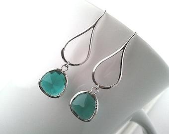 Sea Green Earrings, Amethyst Earrings, Emerald Earrings, Purple, Wedding Earrings,Bridal Jewelry, Green, Hoop style, bridesmaid gifts, Gifts