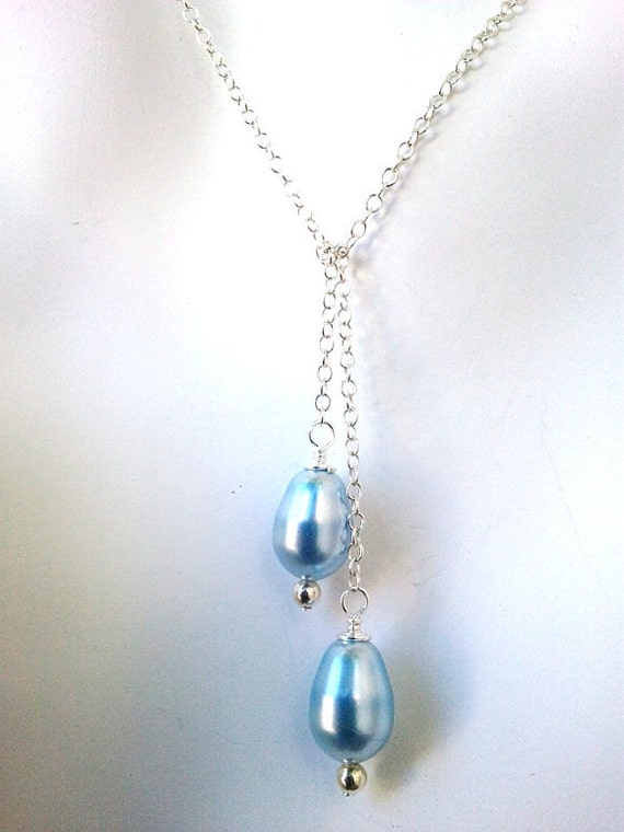 Light Blue Pearl Wedding Necklace, Pearl Necklace,Sterling Silver Chain - Braid Maid Gift,strand,Statement Necklace