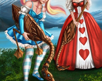 13x17 Signed Steampunk Alice in Wonderland Croquet Print by Sandra Chang-Adair