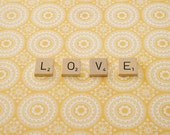 Scrabble Tile Word Art, Word Photography, Love Photograph, Yellow Home Decor, 8 x 10 Photography