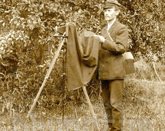 Photographer With Camera Occupational Real Photo Postcard Antique RPPC