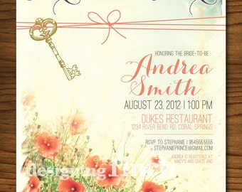 Feminine Flowers and Key Vintage Bridal Shower Invitation, Customizable, Printable #68