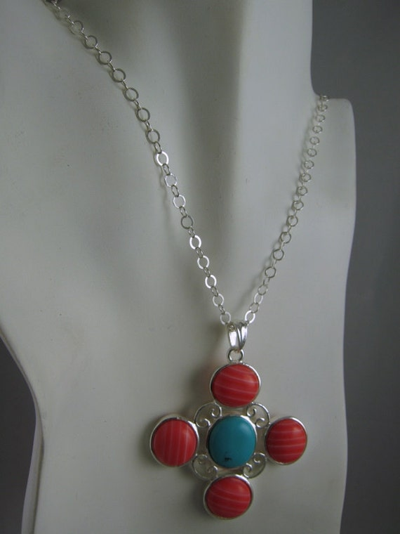 Large and beautiful Turquoise & Coral Pendant...Sterling Silver - FREE shipping in the U.S.