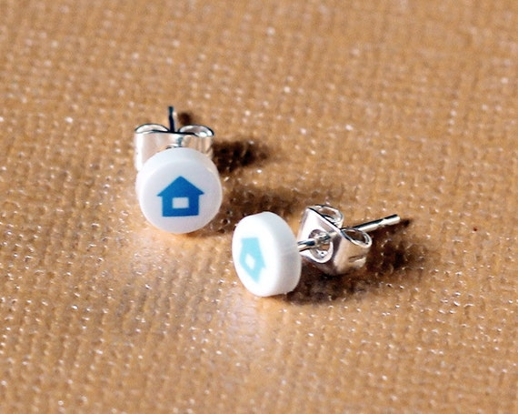 Wii Home Button Earrings