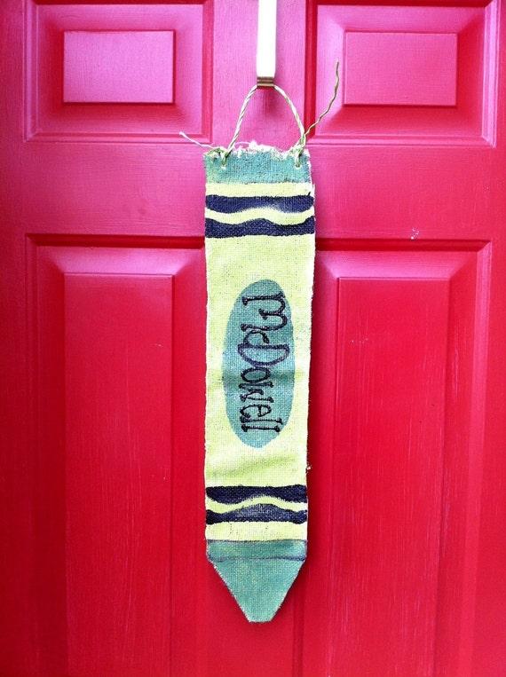 Burlap Door Hanger Crayon - Back to School