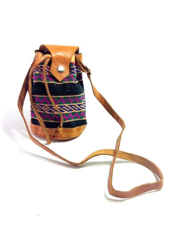 Leather Woven Tribal Crossbody Pouch Bag - Mini Ethnic Bucket Bag