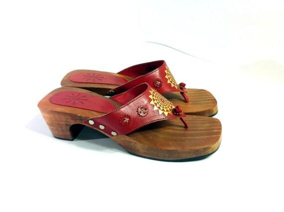 Red Leather Platform Sandal Clogs 7 - Celestial Wood Heel Flip Flops 7