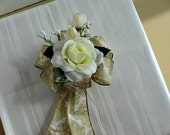 All Occasion gift bow, Mother's Day bow, Special occasion gift bow, Ivory and gold bow, Gift wrap bow, Celebration gift bow (MD11)