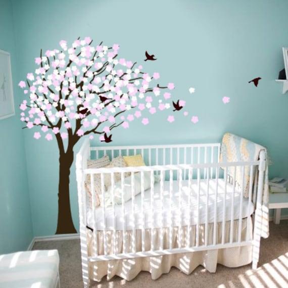 Elegant Vinyl Wall Decal Nursery Tree with Flowers Baby Girl Vinyl Wall Decal Sticker BEST VALUE
