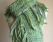 Zooey Scarf - Wool with Ribbon Detailing - Lots of Fringe -- Pistachio Green -- Great Color to chase away winter blahs