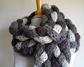 "Braided ""Rapunzel"" Scarf - Chunky, Skinny, and Extra, Extra Long - Shades of browns and ivory -- Wool blend"