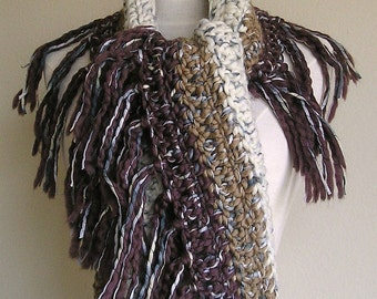 Zooey Scarf - Wool with Ribbon Detailing - Lots of Fringe -- Chocolate, Toffee and Cream