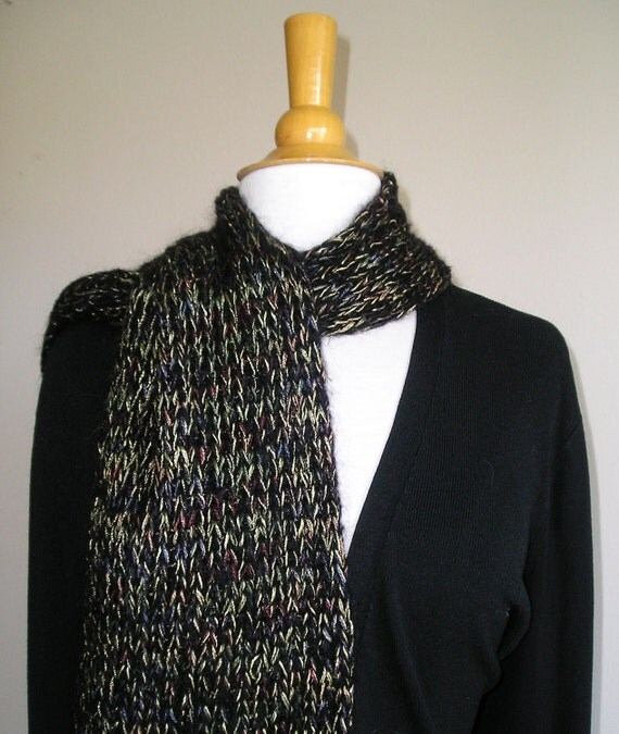 Night on the Town -- Extra Long,  fuzzy, shiny scarf -- OOAK -- Black mohair with multicolored highlights