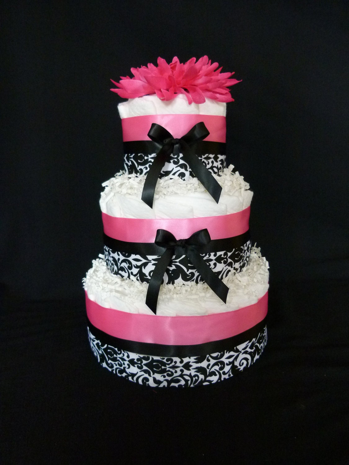 black and white cake 3 tier pink and black damask baby cake by 1813
