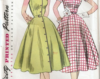Vintage 1952 Simplicity Pattern 3851 Ladies Dress Size 14 Bust 32