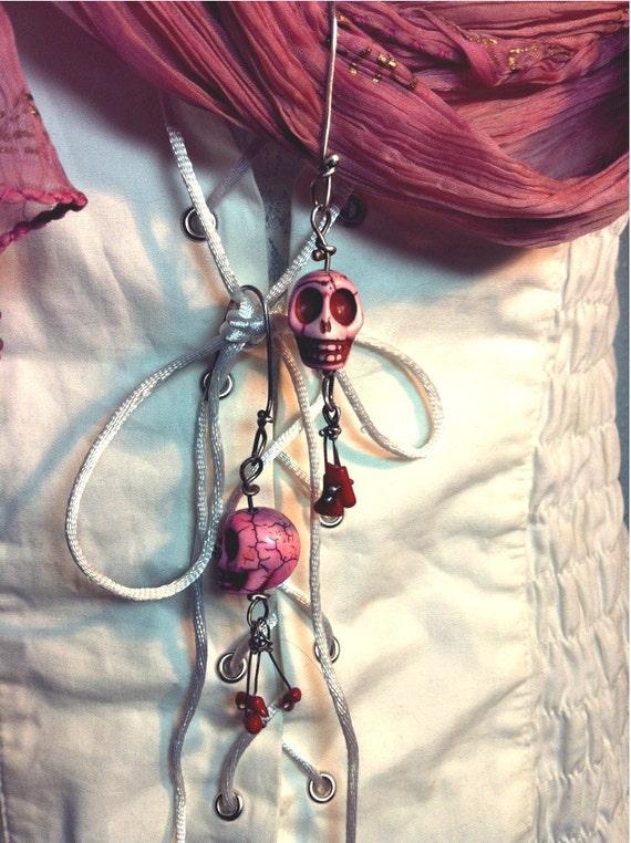 Handmade Pink skull  dangle earrings, Halloween, Day of the Dead