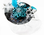 SALE!! 15% off original price - Blue and Silver Feathered Fascinator - 'Snow Queen'