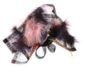 Black and Lilac Feathered Headpiece - 'Piratella'
