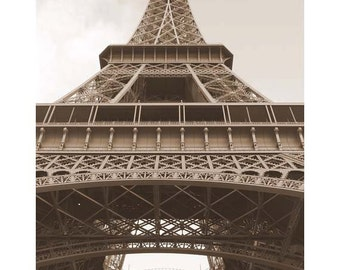 Vintage Eiffel Tower, Paris Photo, 8x12, French Architecture, Sepia, iconic landmark, Wall decor, mother's day,  travel art, for her