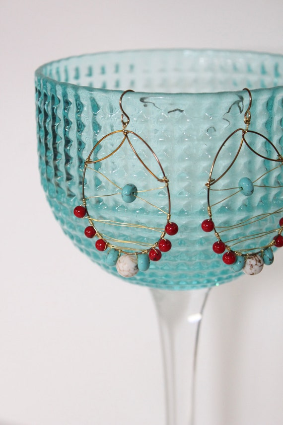 Bohemian Hoop, Serpentine Howlite and Turquoise Earrings, Gold Jewelry