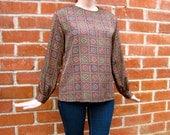 Vintage 80s - Bohemian Print - 100% Silk Blouse - Womens Size S / M