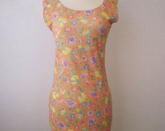 Vintage 80s - Floral Print Dress - Womens Size S / M