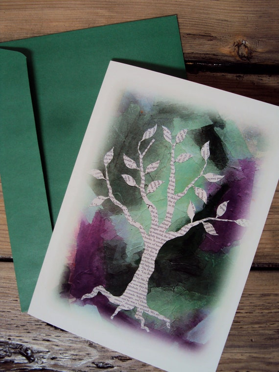 Blank Greeting Card - Mothers Day Spring Tree Art Card - Sympathy - Thinking of You - Get Well Soon - Arbor Day - Earth Day - April Showers