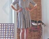 60's navy dot shirt dress