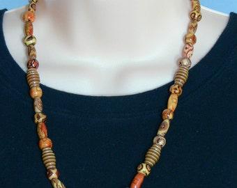 Painted Wood Tiki Bead Necklace - Polynesian - FS-102