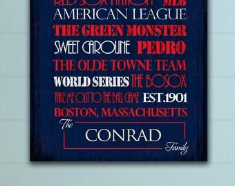 Boston Red Sox Print or Canvas. Personalized Red Sox. Fenway Park. Boston Massachusetts. Baseball art. baseball decor. basement art.