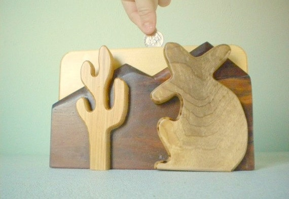 Handmade wooden coin bank with desert scene cactus for Handmade coin bank